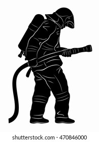 silhouette of a fireman with a fire hose, black and white drawing, white background