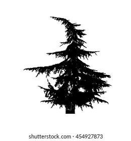 Silhouette of fir-tree. Vector
