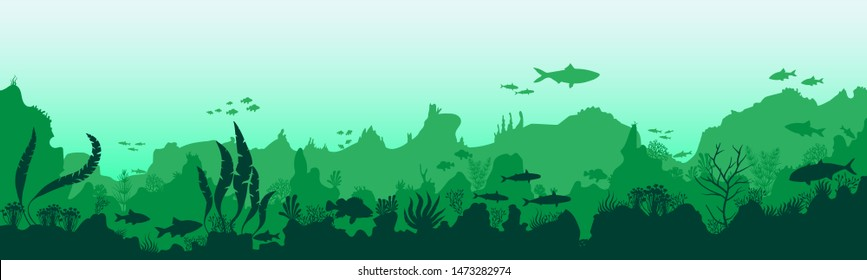 Silhouette of fish and algae on a background of reefs. Underwater Worlds. Green shades. EPS 10 vector illustration.
