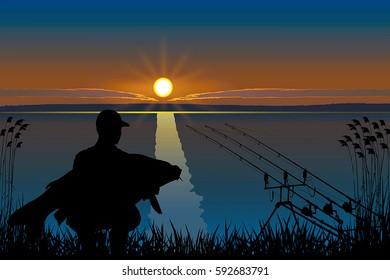 Silhouette of fisherman with carp fish. Fishing vector.