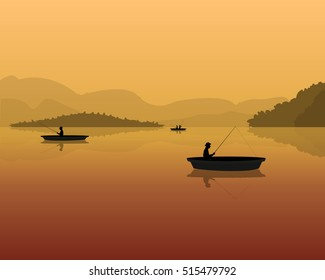 silhouette of fishermen in a boat with fishing rods in the water. landscape with mountains, forest and sunset.