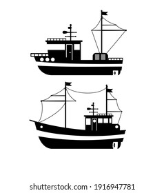 Silhouette of the Fishing Boat, Side View, Commercial Fishing Trawler, Industrial Seafood Production, Water Transport, Sea or Ocean Transportation Vector Illustration