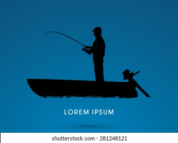 Silhouette, Fishing on the boat, graphic vector.