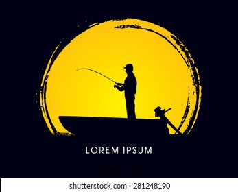 Silhouette, Fishing on the boat, on  the moon grunge brush background, graphic vector.