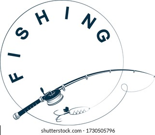 Silhouette fishing rod with fishing line