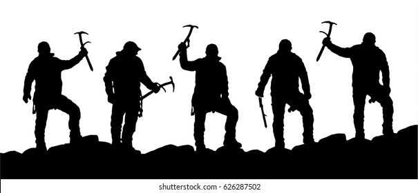 silhouette of five climbers with ice axe in hand, black and white mountain vector illustration logo