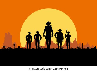 Silhouette of five cowboys walking forward banner
