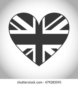 Silhouette Of Flag And Heart Icon London England Landmark British Theme Isolated Design
