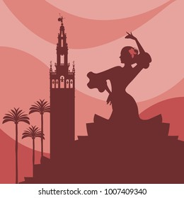 Silhouette of flamenco dancer, palms and monuments in Seville. (The Giralda)