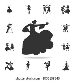 the silhouette of flamenco icon. Set of people in dance  element icons. Premium quality graphic design. Signs and symbols collection icon for websites, web design, mobile app on white background