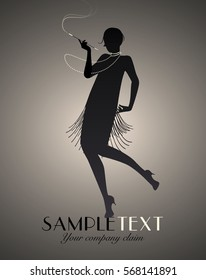 Silhouette of flapper girl dancing Charleston