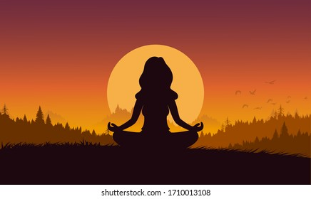 Silhouette flat cartoon style woman meditation or yoga in nature. Concept vector illustration healthy lifestyle.
