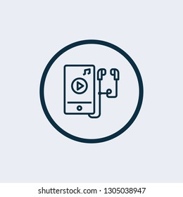 Silhouette flat icon of player, vector design. Illustration of audio walkman, listen to music, modern device. Symbol musical notes - Vector