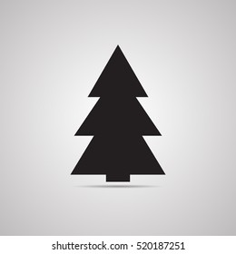 Silhouette flat icon, simple vector design with shadow. Symbol of fir-tree for illustration Christmas, new Year, Christmas tree bazaar and fair