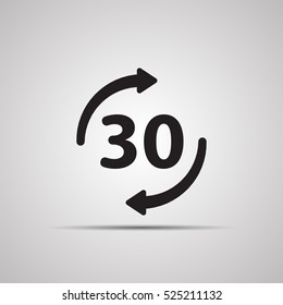 Silhouette flat icon, simple vector design with shadow. Round with arrow and symbol 30 for store delivery and purchase returns in shops. Illustration for time of seconds, minutes, hours, days