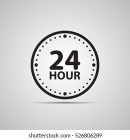Silhouette flat icon, simple vector design with shadow. Watch face with arrow and symbol 24 hours for store delivery, work and open all day long