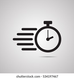 Silhouette flat icon, simple vector design with shadow. Stopwatch illustration. Device to display time and time limit. Symbol of speed