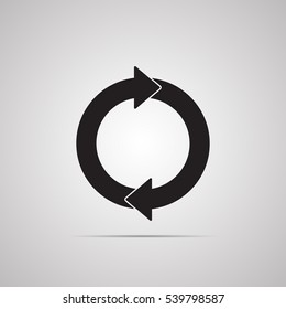 Silhouette flat icon, simple vector design with shadow. Round with arrow for illustration of time, cycle, dynamic and consistency. Symbol for store delivery