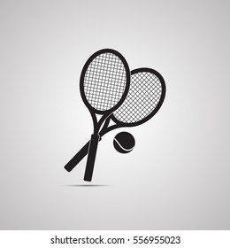 Silhouette flat icon, simple vector design with shadow. Symbol of tennis racquet with ball for illustration of sport game and sporting goods
