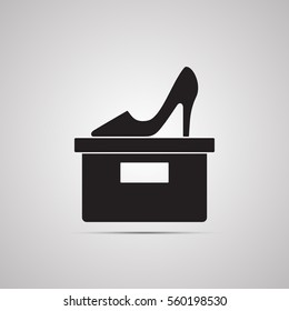 Silhouette flat icon, simple vector design with shadow. Women's shoes for illustration of footwear, accessory, shoemaker, shoe store and shop. Symbol of feminine