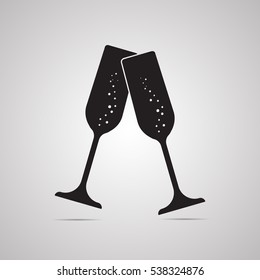 Silhouette flat icon, vector. 2 glasses champagne with bubbles for illustration of alcoholic drinks, sparkling wine and  celebration. Symbol romantic dinner, toast, special occasion and happy New Year