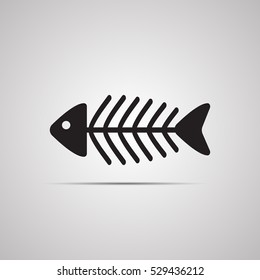 Silhouette flat icon, vector design. Illustration of fish skeleton. Symbol of food for cats, calcium, seafood
