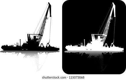Silhouette of the floating crane in port on black and white