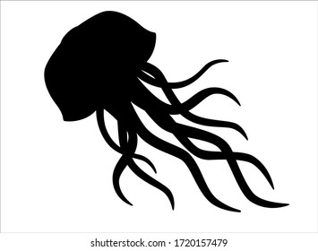 Silhouette of a floating Medusa - vector sign for a logo or pictogram. Jellyfish silhouette for a button or corporate identity on a nautical theme.
