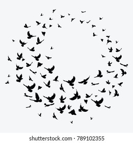Silhouette of a flock of birds. Black contours of flying birds. Flying pigeons. Round tattoo.
