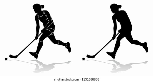 silhouette floorball player shooting  , black and white drawing, white background