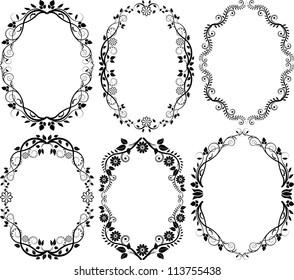 silhouette floral frame - set of vector illustration