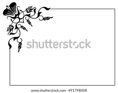 Silhouette Flower Frame Simple Black White Stock Vector (Royalty ...