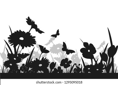 Silhouette of a flower meadow
