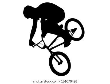 silhouette of a flying biker