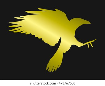 Silhouette of a flying bird. Offensive crows. Rook. Circuit. Golden Raven.