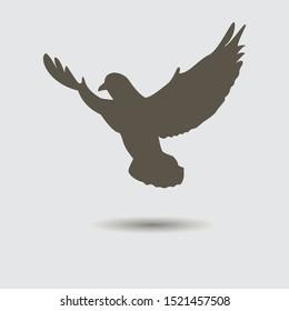 Silhouette of flying bird. Vector illustration