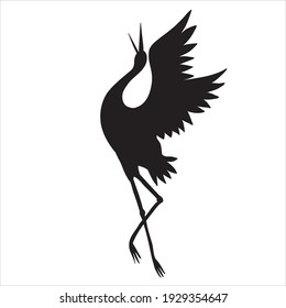 The silhouette of a flying crane on a white background. Vector illustration