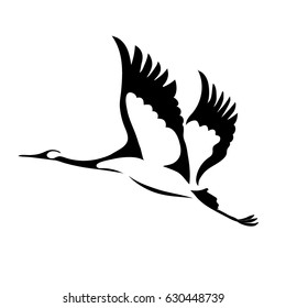 Silhouette of a flying crane. Vector illustration