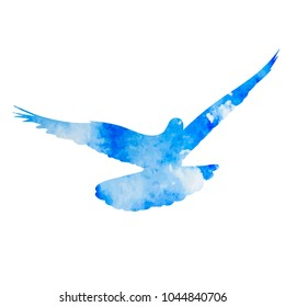 silhouette of a flying dove