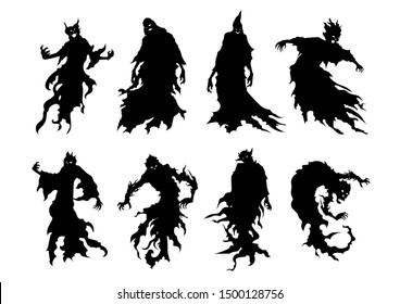 Silhouette of flying evil spirit in vector style collection isolated on white. Illustration about whisper ghost and fantasy.