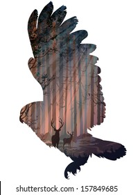 silhouette of a flying owl. inside the forest with rays of light, deer and birds. white background, vector illustration