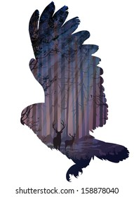 silhouette of a flying owl. inside the forest with rays of light, deer and birds.white background, vector illustration