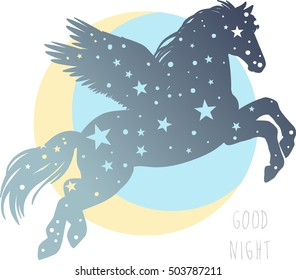 Silhouette of flying pegasus. Magic winged horse. Vector hand drawn illustration.
