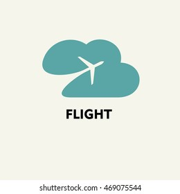 Silhouette of flying plane in the cloud. ?emplate for logo, emblem.