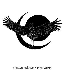 Silhouette of a flying shoebill on abstract background. Graphic drawing. Vector.