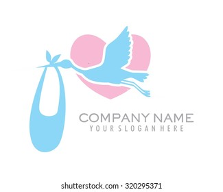 the silhouette flying stork carries a bag of babies near heart vector cartoon character