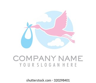 the silhouette flying stork carries a bag of babies in the sky vector cartoon character