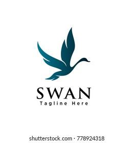 silhouette Flying swan logo