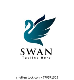 silhouette flying swan logo