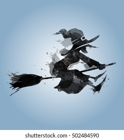 Silhouette of a flying witch. Vector illustration